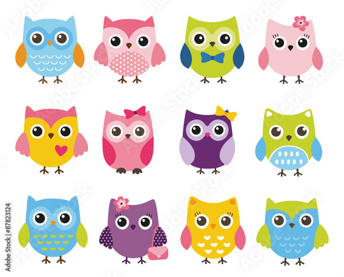 Photo Stands Owls cartoon Cute vector set of colorful owls