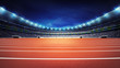 canvas print picture - athletics stadium with track at panorama night view