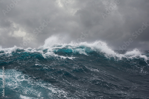 Door stickers Water sea wave during storm in atlantic ocean