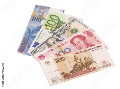 American Dollars European Euro Swiss Franc Chinese Yuan And