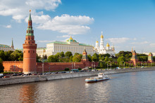The View Of The Moscow Kremlin, Grand Kremlin Palace, Cathedrals And Quay Moskva River
