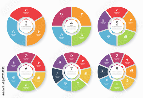 Photo  Set of vector infographic circle templates