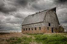 Stormy Barn.  Old Barn On Prairie With Stormy Sky, USA