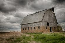 Stormy Barn.  Old Barn On Prai...