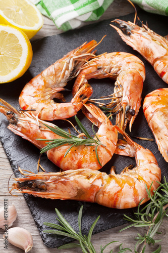 Grilled shrimps on stone plate Wallpaper Mural