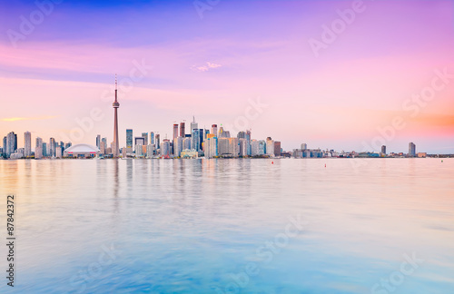 Panorama of Toronto skyline at dusk in Ontario, Canada