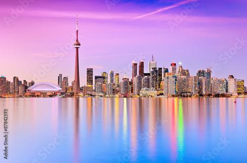 Toronto skyline at dusk in Ontario, Canada.