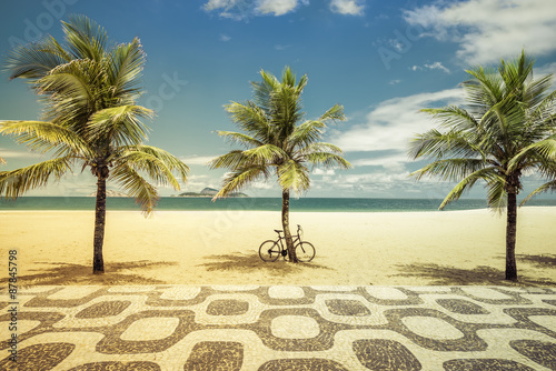 obraz lub plakat Palms with bicycle on Ipanema Beach in Rio de Janeiro