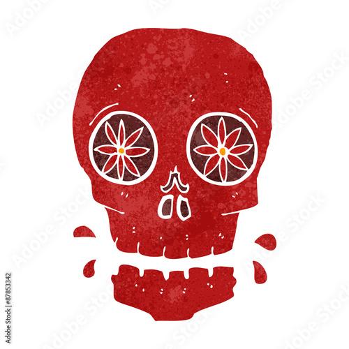 Printed kitchen splashbacks Watercolor skull retro cartoon red sugar skull