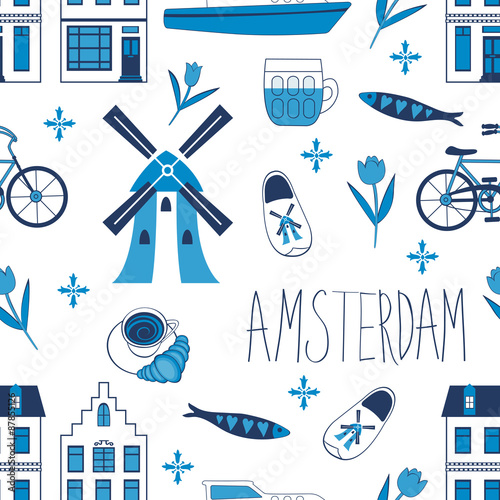 Colorful Amsterdam icons seamless pattern Canvas Print