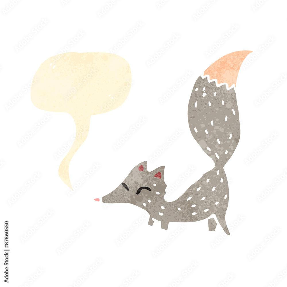 retro cartoon cute little wolf