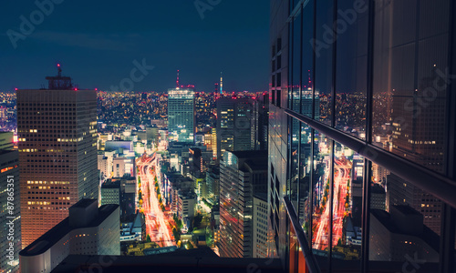 Valokuvatapetti Aerial view cityscape at night in Tokyo, Japan from a skyscraper