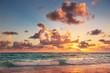 Sunrise on the beach of Caribbean sea