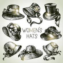 Hand Drawn Elegant Vintage Ladies Set. Sketch Women Hats
