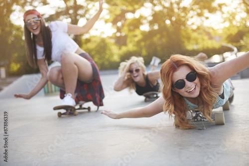 Frenzy girls having fun in the skatepark
