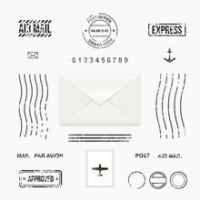 Set Of Post Stamp Symbols, Mail Envelope, Vector Illustration