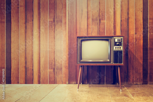 Staande foto Retro Old vintage television or tv