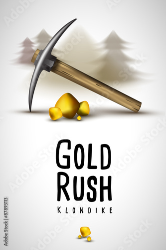 pickaxe and gold Klondike Gold Rush Tablou Canvas