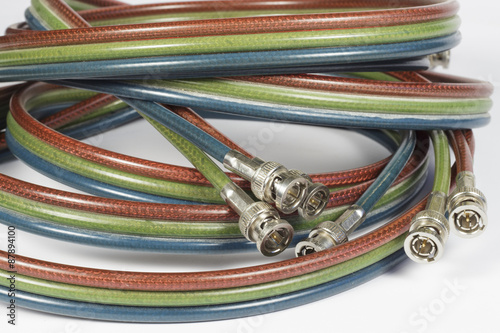 Fotografía  Cables with BNC connectors for analog component video