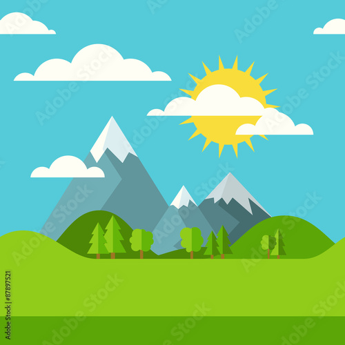 Vector summer or spring seamless landscape background. Green val
