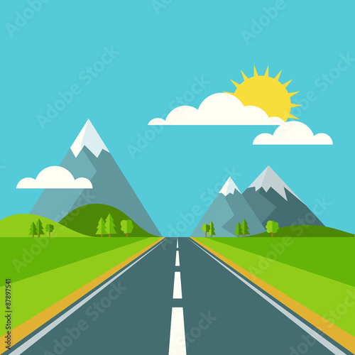 Photo Stands Turquoise Vector summer or spring landscape background. Road in green vall