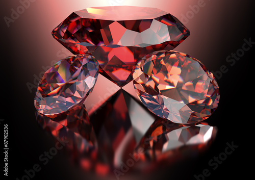 red diamond isolated on white background with clipping path Fototapet