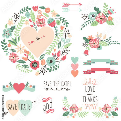 Vintage Wedding Flora design element