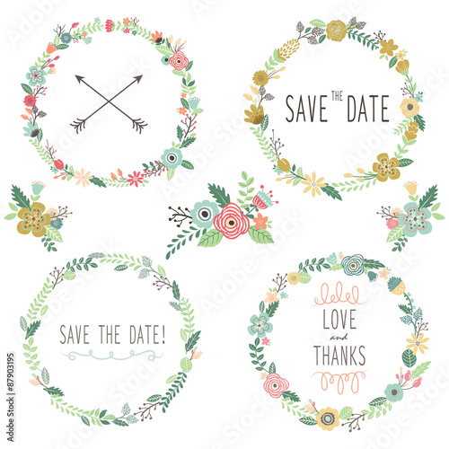 Photo  Vintage Flowers Wreath  Elements