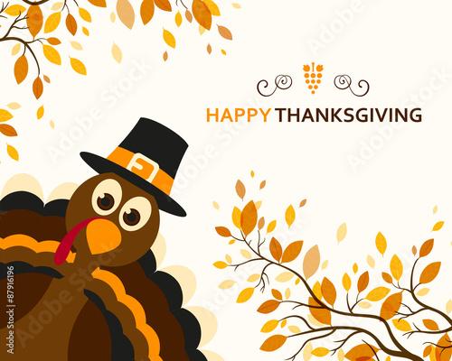Carta da parati Vector Illustration of a Happy Thanksgiving Celebration Design with Cartoon Turk