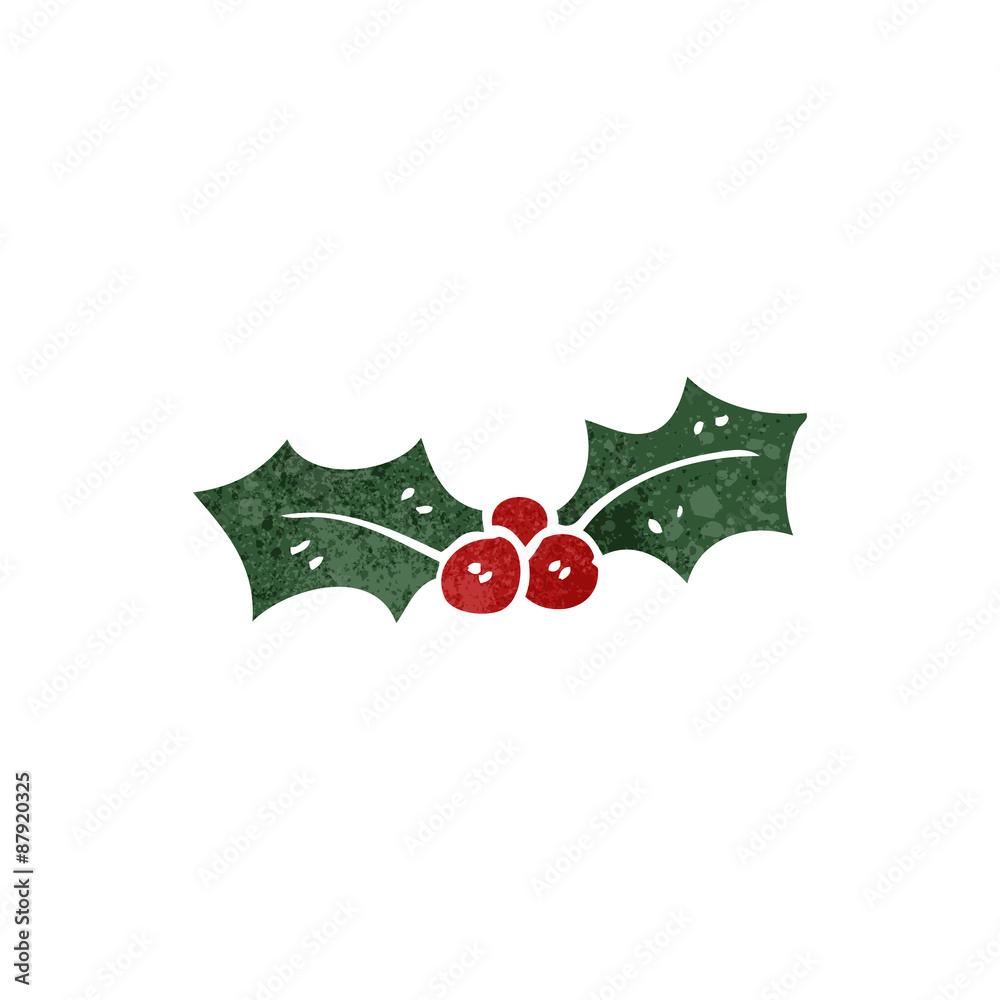 Christmas Holly Cartoon.Photo Art Print Retro Cartoon Christmas Holly Europosters