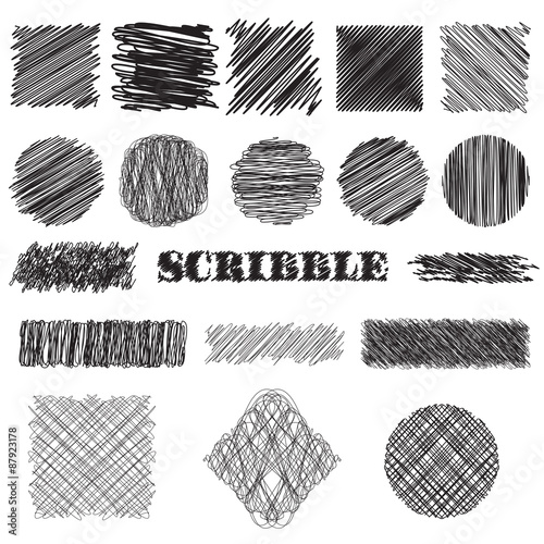 Valokuva  vector set of scribble brushes
