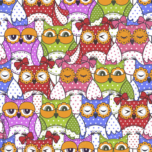 Poster Hibou Seamless pattern of colorful owls