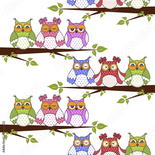 Photo Stands Owls cartoon Seamless pattern with owls in the trees on a white background