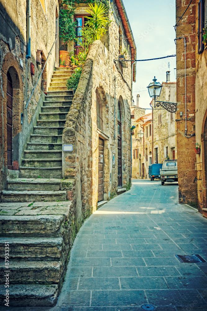 Fototapety, obrazy: Uliczka w Pitigliano, Toskania, Włochy