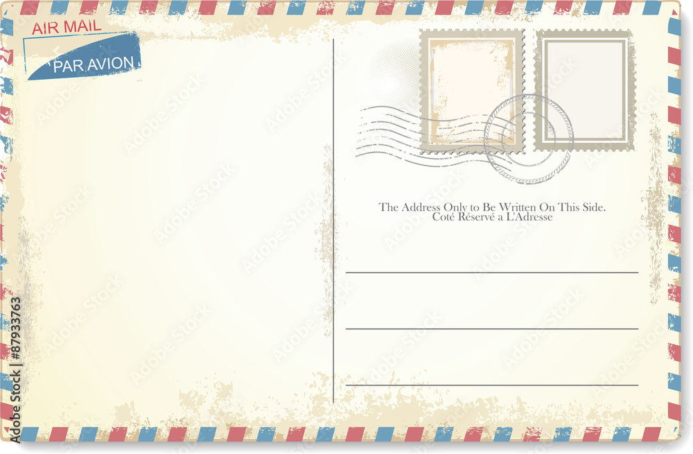 Fototapeta Postcard vector in air mail style