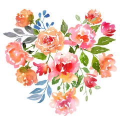 NaklejkaWatercolor roses card template