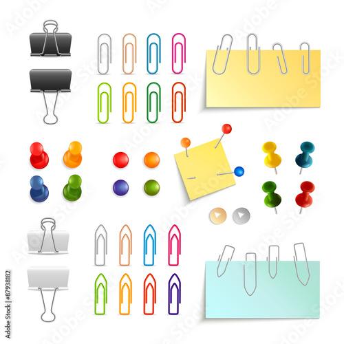 Fotografie, Obraz  Paper Clip And Pin Set