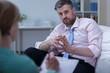 Man listening therapist advice