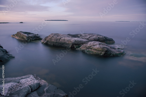 Fotografie, Obraz  Quiet night on Ladoga lake