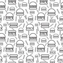 Seamless Monochrome Pattern Burgers And Fries