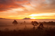 misty morning sunrise in mountain at Thung Salang Luang National