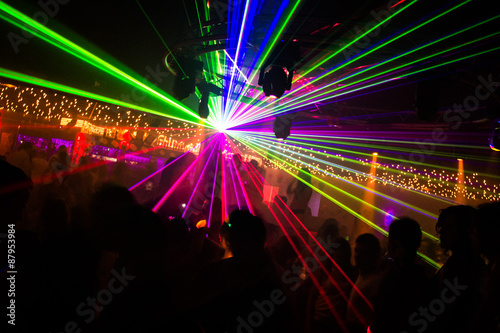 Jeux de lasers en discothèque Tablou Canvas