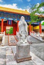 Statue Of Confucius, The Great Chinese Philosopher In Temple Of