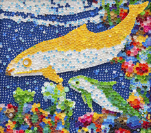 Dolphin Mosaic Made By Plastic Caps