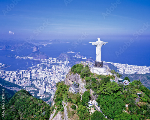 Fotografie, Obraz  コルコバードの丘のキリスト像空撮