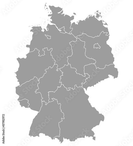 Fotomural  Deutschland Karte und Bundesländer Landkarte Europa