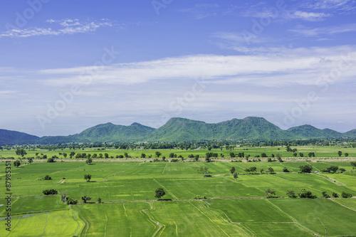 Fotobehang Rijstvelden Rice fields with mountian at Wat Tham Sua Kanchanaburi, Thailand