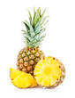 canvas print picture - Pineapple with slices isolated on white