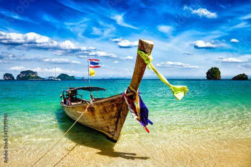 Long tail boat on beach, Thailand Wallpaper Mural