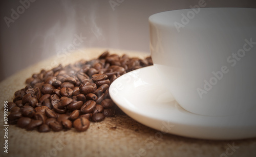 Photo Stands Coffee beans Hot Coffee on gunny-bag